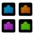 glowing neon medical hospital building with cross vector image