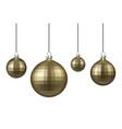 golden christmas balls set vector image