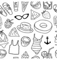 hand drawn ink summer seamless pattern vector image