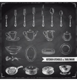 hand drawn with kitchen tools vector image vector image