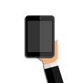 Hands holding mobile phone vector image