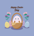 happy easter day card with cute rabbit and eggs vector image vector image