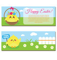happy easter horisontal banners with cute cartoon vector image