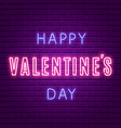 happy valentines day neon glowing text vector image vector image