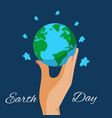 human hands holding earth globe save planet vector image