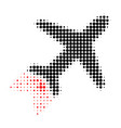 jet liner halftone dotted icon with fast rush vector image vector image