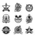 karaoke emblems vintage labels with microphones vector image