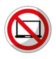 laptop computer with denied sign vector image vector image