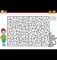 maze game with boy and his pet cat vector image vector image