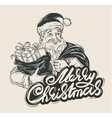 Merry Christmas Cheerful Santa Claus holding a vector image