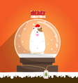 Merry Christmas dog in snow globe vector image vector image
