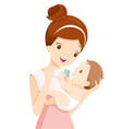 Mother Feeding Baby With Milk In Baby Bottle vector image vector image