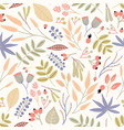 motley seamless pattern with berries leaves and vector image vector image