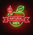 neon sign natural apple glows in the dark vector image vector image