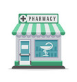 pharmacy city building exterior front view vector image vector image