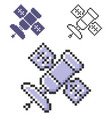 pixel icon satellite in three variants fully vector image