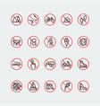 prohibition signs linear icon set vector image vector image