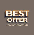promo tag best offer stylish 3d alphabet vector image