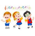 school children singing vector image