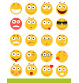 set of cute emoticons emoji and smile icons vector image vector image