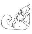 sly cartoon cat sitting in the corner vector image vector image