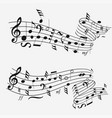 sound wave with musical notation note sheet vector image