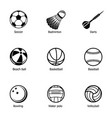 sport ball icons set simple style vector image vector image