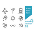 summer vacation outline icons set 01 vector image vector image