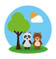 two cute animals bear and panda friendly vector image