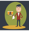 Waiter with three glasses of beer vector image vector image