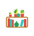 wooden shelf with houseplants and vases vector image