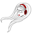 Young women with red headphones vector image vector image