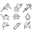 Black outline icons for construction equipment vector image