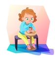 Girl modeling a jug vector image