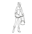 Monochromatic picture with lady in autumn clothes vector image