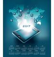 2017 mobil technology calendar vector image