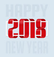 2018 happy new year red ribbon on white background vector image vector image