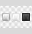 3d realistic square foil white black vector image