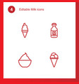4 milk icons vector image vector image