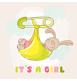 babunny shower or arrival card vector image vector image