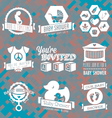 bashower invite labels in retro sty vector image vector image