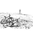 bicycles on sea shore vector image