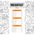 breakfast menu template design for restaurant with vector image