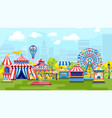 carnival in city amusement park vector image vector image