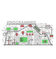 computer programmer concept flat line art vector image