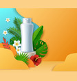 cosmetic bottle on display podium paper cut vector image vector image