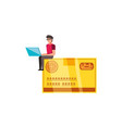 credit card money with man vector image vector image