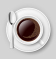 cup of coffee with spoon on saucer top view on vector image vector image
