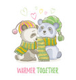 cute christmas animal asian panda bear couple in vector image vector image