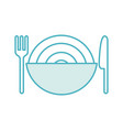 cutlery with delicious spaghetti isolated icon vector image vector image
